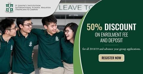 50% Discount for St Joseph's Institution International School Intakes 2018/2019