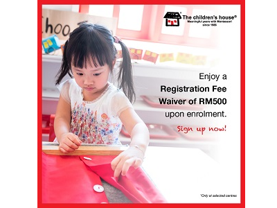 The children's house - Enjoy Registration Fee Waiver until 31st Oct 2018