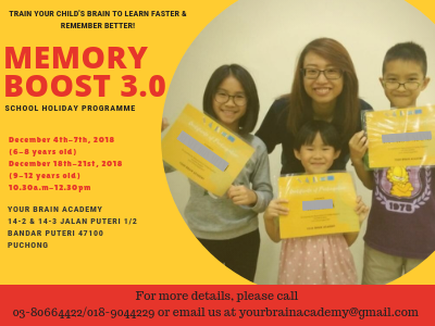 Memory Boost 3.0 School Holiday Programme @ Your Brain Academy