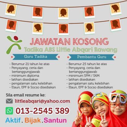Preschool Teacher & Teacher's Assistant @ Tadika ABS Little Abqari, Bandar Country Homes
