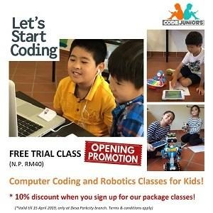 FREE Computer Coding & Robotics Trial Classes for Kids @ CodeJuniors