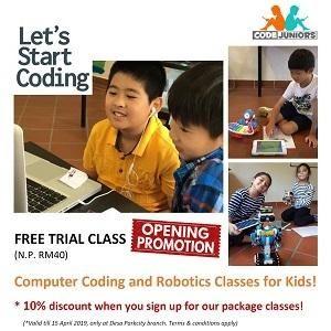 FREE Computer Coding & Robotics Trial Classes for Kids @ CodeJuniors