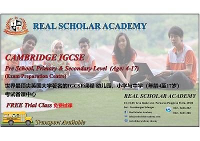 FREE Trial - Cambridge IGCSE Class (Age 4-17) @ Real Scholar Academy