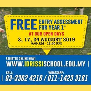 August Open Days: Free Year 1 Entry Assessment Test @ IDRISSI International School