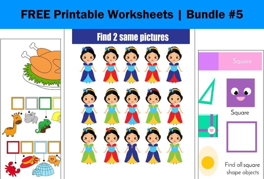 FREE Printable Worksheets for Kids | Bundle #5