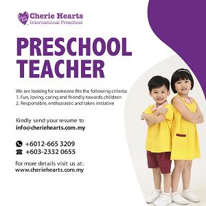 Preschool Teacher @ Cherie Hearts International Preschool, Old Klang Road