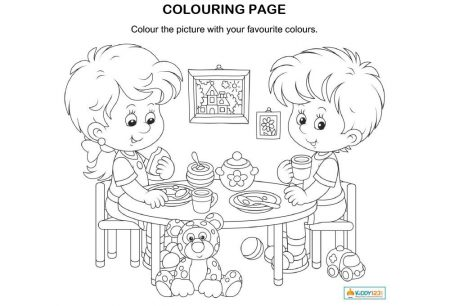 ART & CRAFT _ Colouring page girl boy