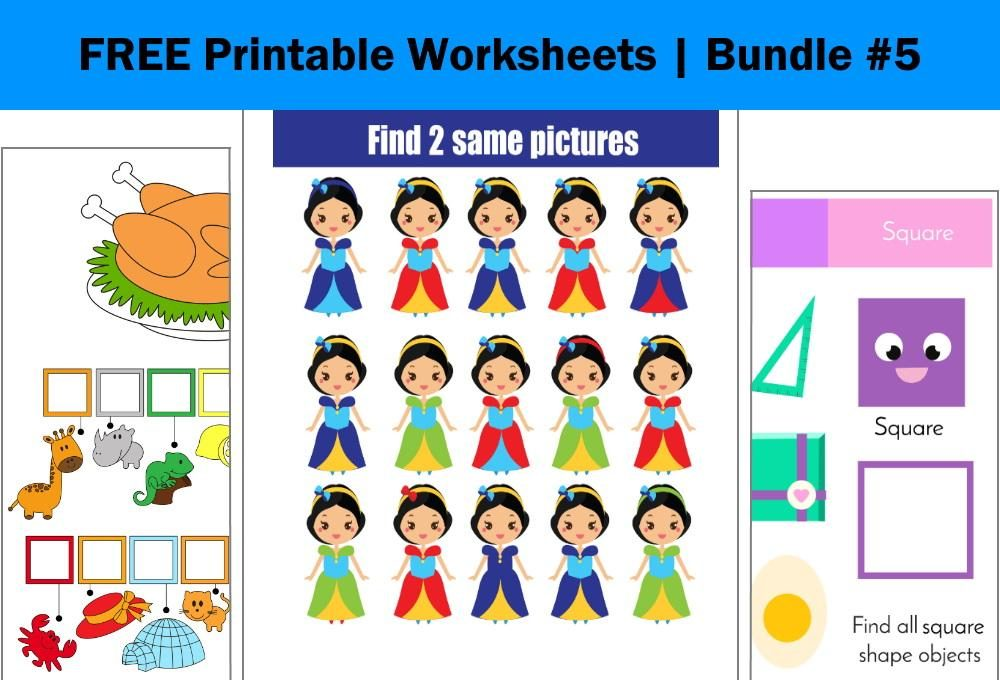 FREE Printable Worksheets for Kids | Bundle #5