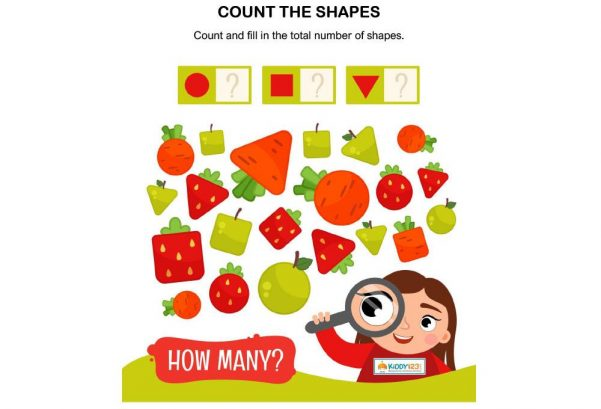 Numbers - Count shapes strawberries carrots