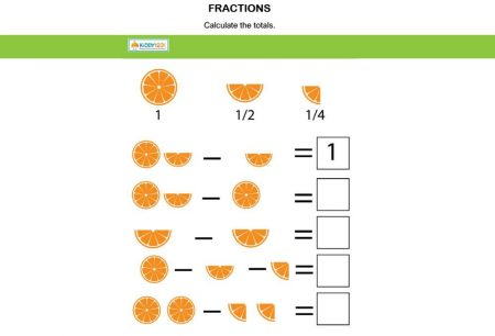 Numbers - Fractions orange