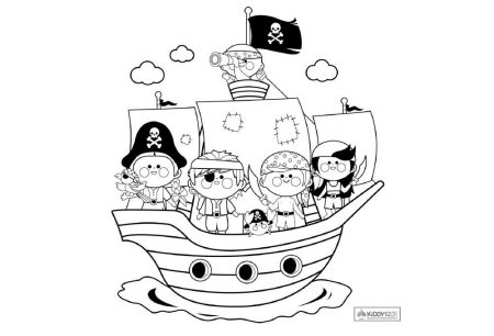 Art - Colouring Pirate Ship