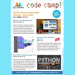 Online Holiday Programs (Ages 7-16) @ CodeJuniors