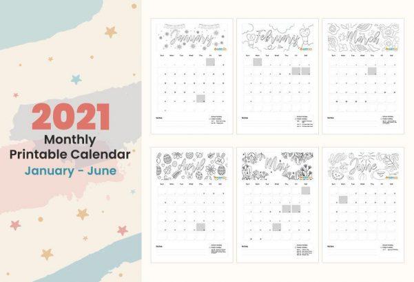 Monthly Planner - January till June