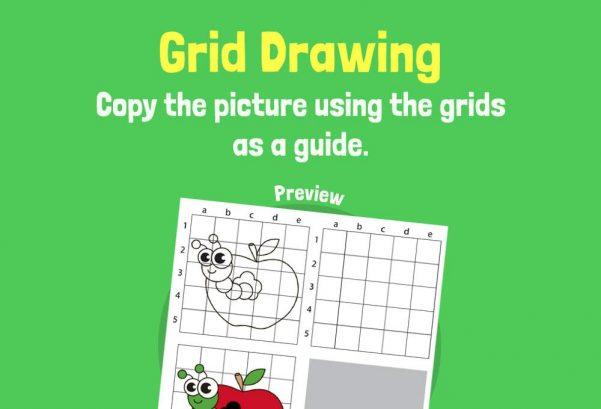 Art - Grid drawing apple