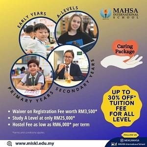 Enroll Now and Enjoy 30% OFF Tuition Fees @ Mahsa International School