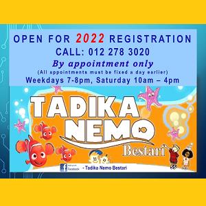 Open For 2022 Registration - Tadika Nemo Bestari, Subang Jaya