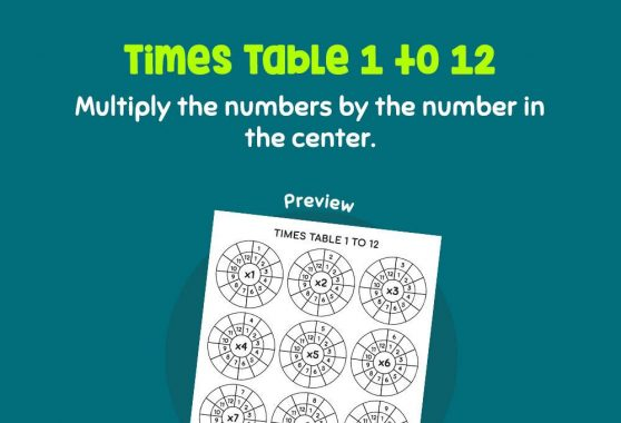 Numbers - Times Table 1 - 12