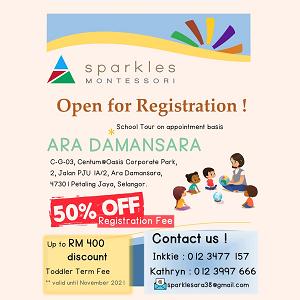 Open for Registration @ Sparkles Montessori Ara Damansara, Petaling Jaya